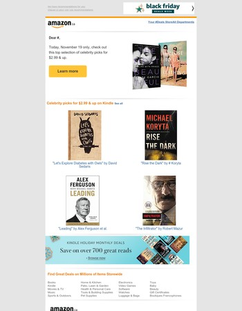 Amazon.ca:  Celebrity picks for $2.99 & up on Kindle | Today only