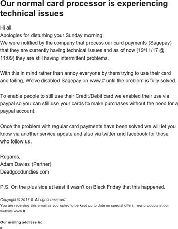 Service update: If you are payingby Credit/Debit card