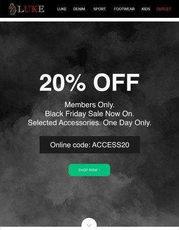 Black Friday now on 20% off accessories today only