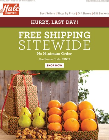 Last Day! Save with Free Shipping Sitewide