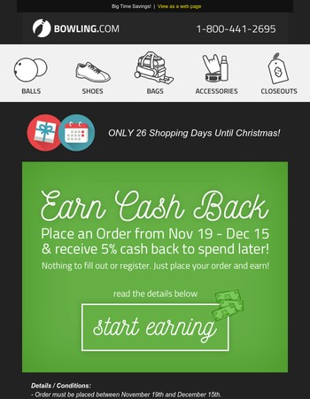 Earn 5% Cash Back from Bowling.com!