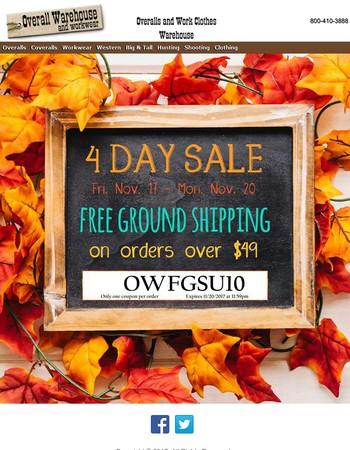 2 Days Left for Free Ground Shipping Over $49! Don't Wait!!
