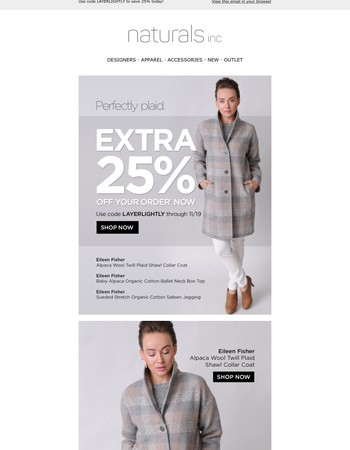 New Perfectly Plaid Eileen Fisher + 25% Off Your Order!