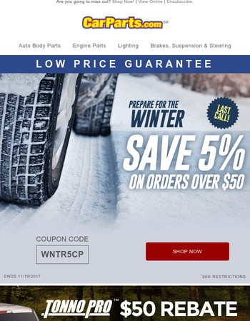 Til Tonight Only: 5% OFF on auto parts and accessories!