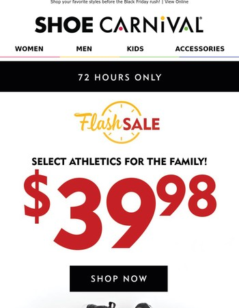 Better Hurry! Last Chance for $39.98 Athletics + Buy One Get One Half Off!