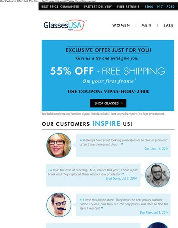 55% Off Your First Pair - Glasses From $17!