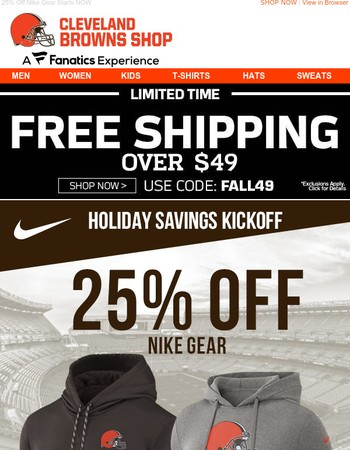 Starts NOW: 25% Off Browns Nike Gear (EVEN Jerseys!) + Free Shipping