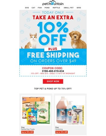 10% off + Free Shipping at $49 - TODAY ONLY