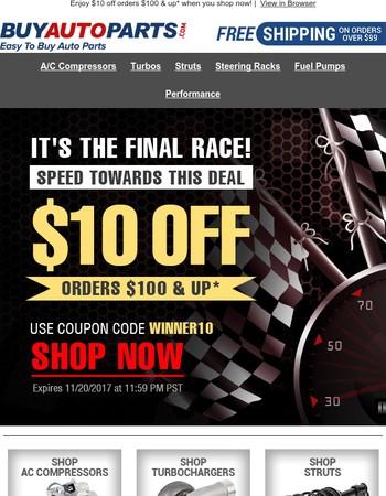Speed Towards $10 OFF