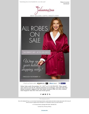 All robes up to 25% off? Thank you!