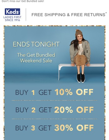 Up to 30% off ends tonight!