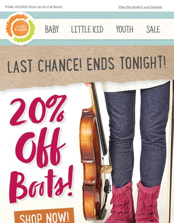 ⌛Time is Running Out: 20% Off All Boots Ends Tonight!
