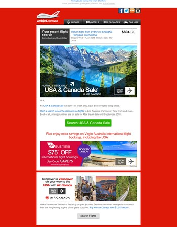 Flights to the USA & Canada discounted, this week at Webjet | + Enjoy $75 OFF international flight bookings with Virgin Australia, USA included! | NZ fr $189 one way