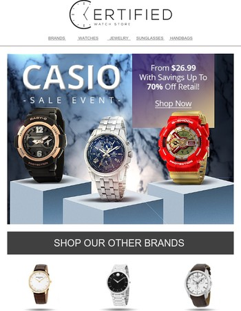 From $26.99, Casio Watches at Up To 70% Off