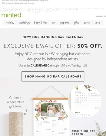 Arrives ready to gift: NEW hanging bar calendars (50% OFF 'til Tuesday!).