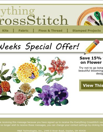 Save on Flower Patterns at Everything Cross Stitch