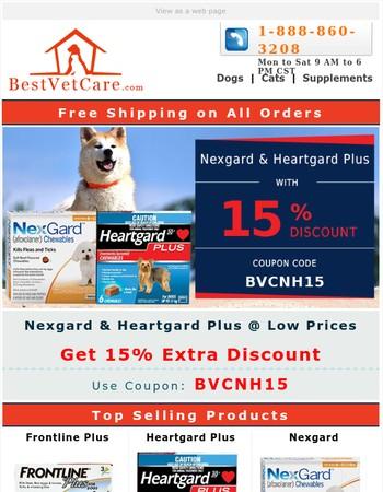 Nexgard & Heartgard Plus Super Sale! 15% Extra Discount & Free Shipping