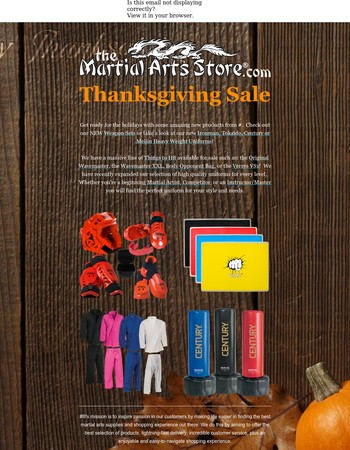 The Martial Arts Store: Thanksgiving Specials and Newsletter - November 2017