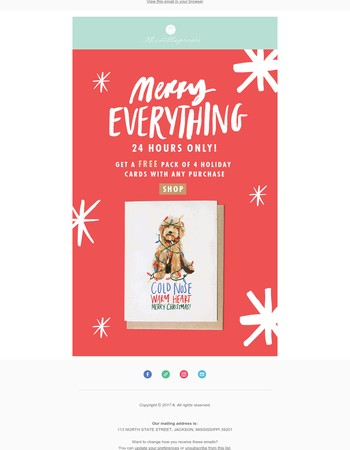 24 HOURS ONLY! Free Holiday cards with any purchase!
