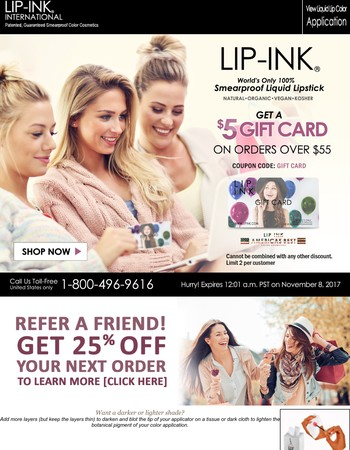 FREE $5 LIP INK GIFT CARD!