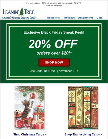 20% Off Cards & Gifts - Exclusive Black Friday Sneak Peek