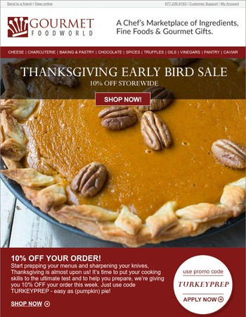 Thanksgiving Early Bird Sale: 10% OFF Your Order.