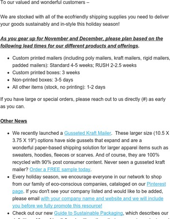 Holiday Season Lead Times and Announcements