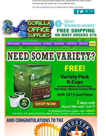 Variety Pack K-cups - Free - 5 days only!