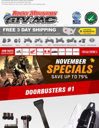 November Doorbusters and Closeout Specials!