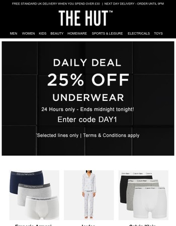 25% off Underwear | 1 Day Only