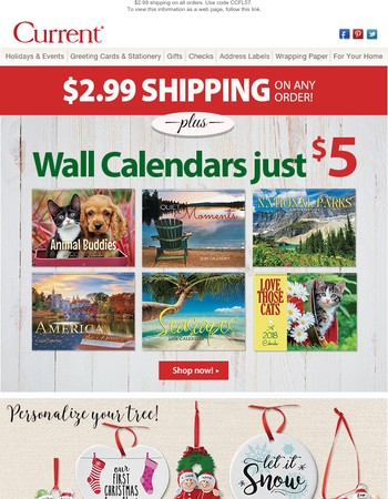$2.99 shipping + our lowest prices on calendars