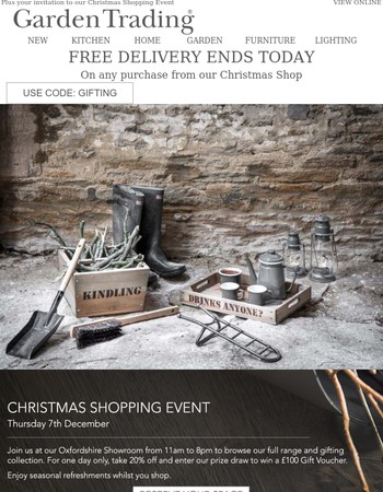 Last chance to enjoy Free Delivery