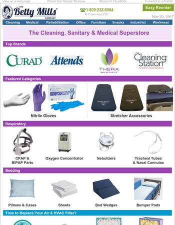 Breathing Aids, Bedding, Attends, HVAC, Nitrile Gloves, Curad, Provon Skincare & More.