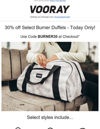 Today Only - 30% off Select Burner Duffels + Free Shipping