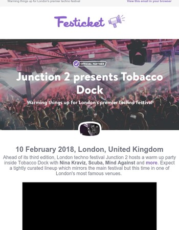 Junction 2 presents Tobacco Dock: Tickets now on sale