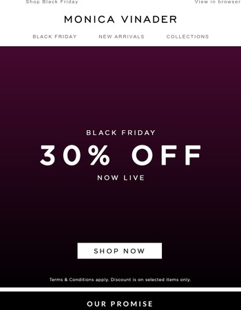 Black Friday Sale Early Access - 30% Off Selected Items!