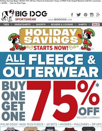 BOGO 75% Off Fleece & Outerwear - HUGE Holiday Savings! | FREE Blanket Offer!