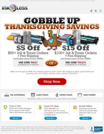 Gobble Up Thanksgiving Savings! Two Ways to Save.