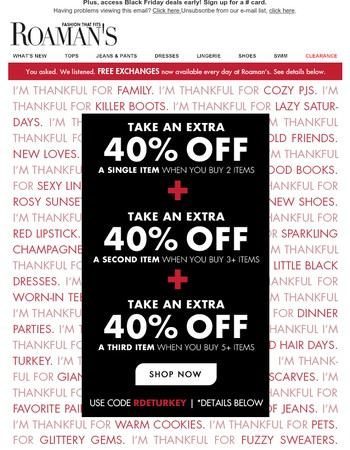 We're thankful for a triple extra 40% off