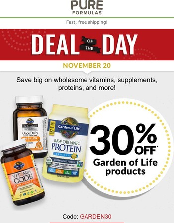 Today Only! 30% OFF Garden of Life