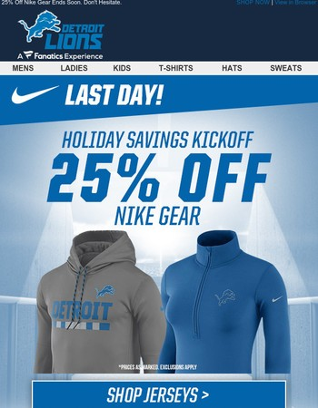 Don't Pass Up 25% Off Lions Nike Gear