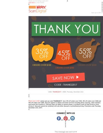 We are saying THANK YOU with 55% OFF this week