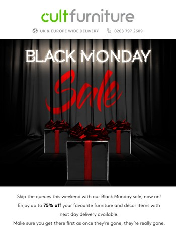 Black Monday Sale, up to 75% Off
