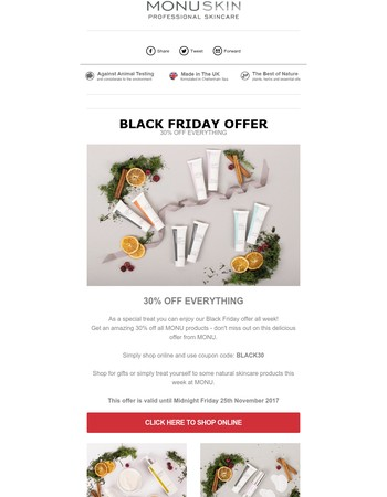 Our Black Friday offer starts right now! Enjoy a whopping 30% off MONU skincare