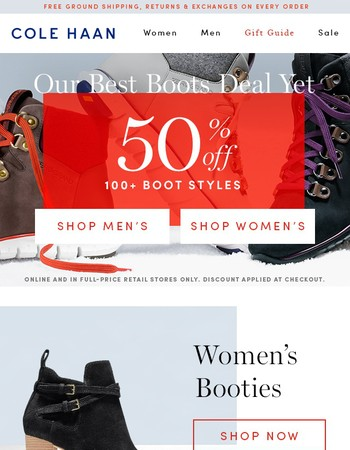 50% Off Boots & Coats. Treat Yourself (& Friends & Family)