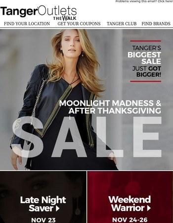 Shop Our Biggest Sale of the Year!  Open Thanksgiving Evening at 6pm!