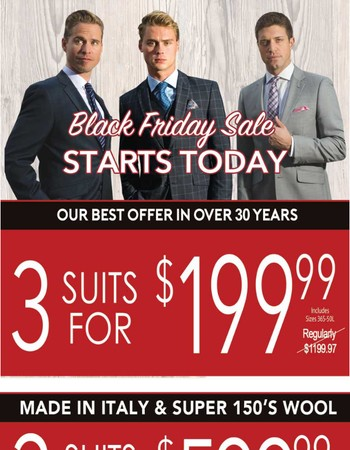 Black Friday Early Bird Sale at Karako Suits