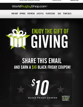 Last Chance to get a $10 Gift Card by Passing along the Rugby Love!