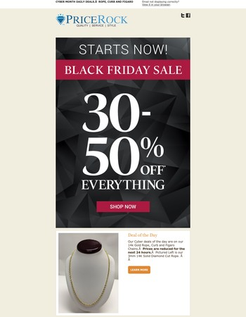 Black Friday Deals are Here. Gold Chain and Jewelry Markdowns- Deal of the Day