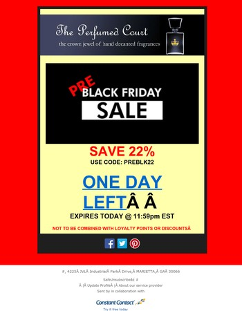 PRE-BLACK FRIDAY SALE 22% OFF